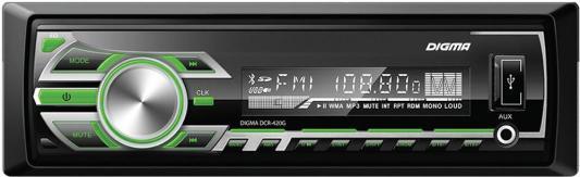 Автомагнитола Digma DCR-420G USB MP3 FM 1DIN 4x45Вт черный автомагнитола kenwood kdc 210ui usb mp3 cd fm 1din 4х50вт черный