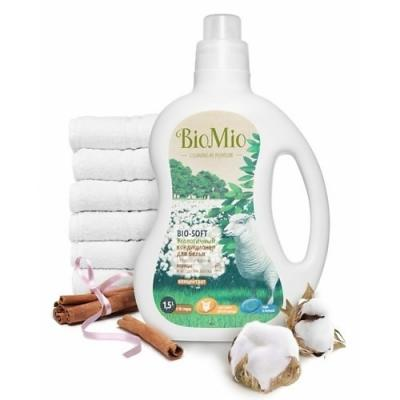 BioMio Экологичный кондиционер для белья Bio-Soft концентрат с эфирным маслом корицы и экстрактом хлопка 1,5л biomio с экстрактом хлопка 1 5 л