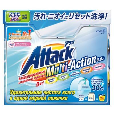 Стиральный порошок Attack Multi-Action с активным кислородным пятновыводителем и кондиционером 900г као антибактериальный стиральный порошок со смягчающими компонентами attack 900 г