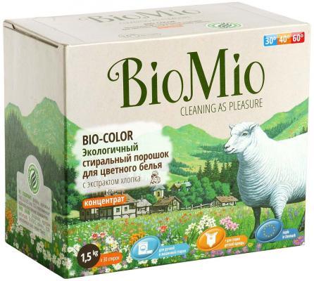 BioMio Экологичный стиральный порошок для цветного белья Bio-Color концентрат с экстрактом хлопка без запаха 1500гр детские моющие средства biomio bio color экологичный стиральный порошок для цветного белья без запаха 1500 г
