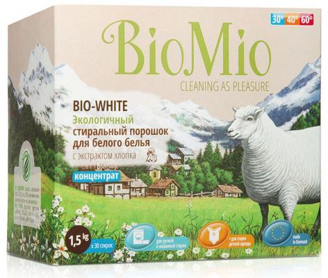 BioMio Экологичный стиральный порошок для белого белья Bio-White концентрат с экстрактом хлопка без запаха 1500гр детские моющие средства biomio bio color экологичный стиральный порошок для цветного белья без запаха 1500 г