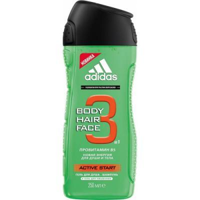 Adidas Body-Hair-Face Active Start гель для душа, шампунь и гель для умывания для мужчин 250 мл fa гель для душа oriental moments 250 мл