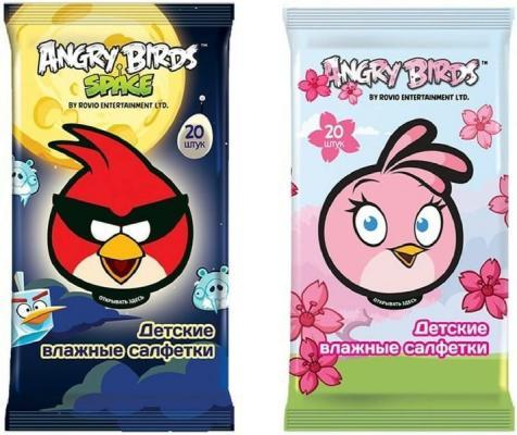 Салфетки влажные Angry birds Детсткие не содержит спирта 20 шт в ассортименте светоотражатель angry birds в ас те полистирол