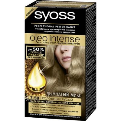 SYOSS Oleo Intense Краска для волос 7-58 Холодный русый 115 мл syoss бальзам oleo intense thermo care для сухих и ломких волос 500 мл