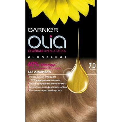 GARNIER Краска для волос OLIA 7.0 Русый garnier стойкая крем краска для волос olia без аммиака оттенок 5 9 сияющий каштановый бронз