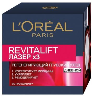 Крем для лица LOreal Paris Revitalift Лазер 3 50 мл дневной л ореаль лореаль гиалуроновая кислота на фоне заполнения 15 мл фу ян импорт глаз г ж л ореаль исчезать тонкие линии укрепляющие