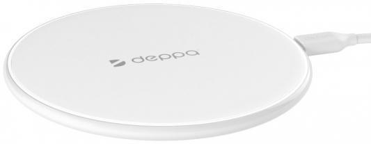 Беспроводное зарядное устройство Deppa Qi Fast Charger * 2А белый 24001 беспроводное зарядное устройство spigen essential f302w 5w 000ch20765 2а черный