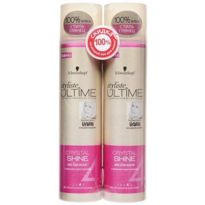 Styliste ULTIME CRYSTAL SHINE Спайка 2 лака для волос, второй лак со скидкой 100% бальзамы essence ultime бальзам crystal shine 250 мл