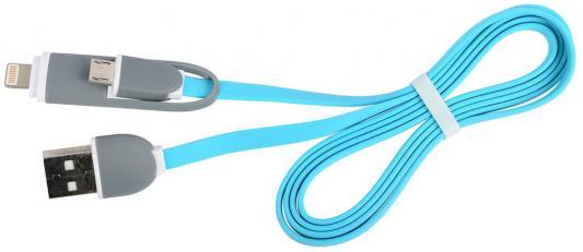 Кабель Lightning 1м Ritmix RCC-200 плоский синий