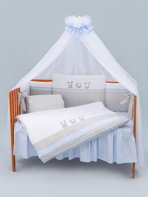 Постельный сет 6 предметов 125х65см Lepre Bunny (цвет 172 серый/голубой) kupi kolyasku постельный сет из 6 предметов makkaroni kids kk bunny