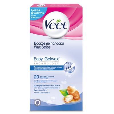 VEET Восковые полоски для чувствительной кожи c технологией Easy Gel-wax 20 шт восковые полоски для чувствительной кожи ромашка floresan 20 шт