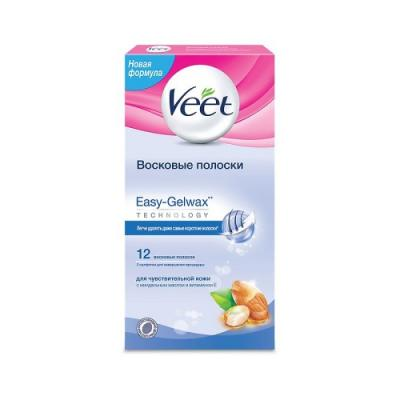 VEET Восковые полоски для чувствительной кожи c технологией Easy Gel-wax 12шт