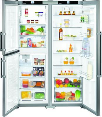 Холодильник Side by Side Liebherr SBSEF 7343 серебристый встраиваемый холодильник side by side liebherr sbs 70 i4 22