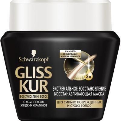 GLISS KUR Восстанавливающая маска Экстремальное восстановление gliss kur маска в банке глубокое восстановление сыворотка 200 мл