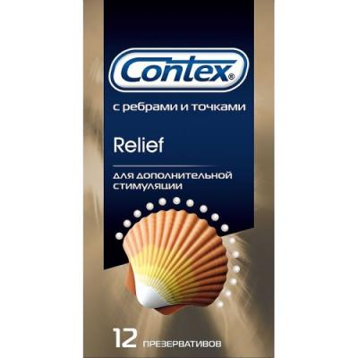 CONTEX Презервативы №12 Relief микс 6 шт с точками 6 шт с ребрами contex relief 12 шт презервативы c кольцами и пупырышками
