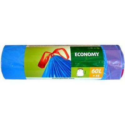 PACLAN Мешки для мусора с завязками ЭКОНОМ 60л 15шт мешки для мусора stayer comfort с завязками голубые 60л 20шт 39155 60