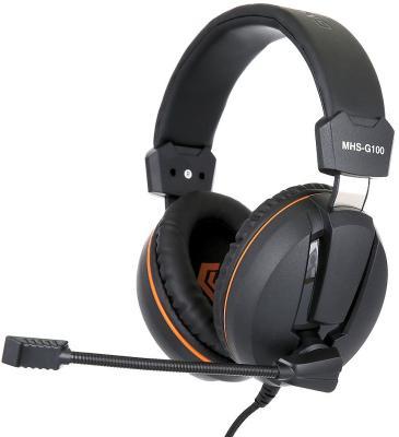 Игровая гарнитура проводная Gembird MHS-G100 черный оранжевый цена
