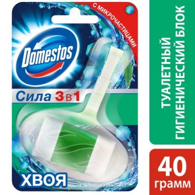 DOMESTOS Гигиенический блок для унитаза Хвоя 40г запаснойблокдляунитазалимон 40г 24штв упаковке snowter
