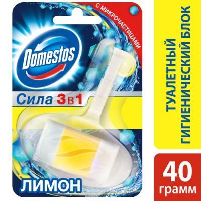 DOMESTOS Гигиенический блок для унитаза Лимон 40г блок для очищения унитаза domestos power 5 свежесть лайма 2 х 55 г