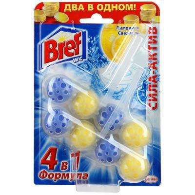 BREF Сила Актив Блок твёрдый туалетный Лимонная свежесть 2*50г чистящее средство для унитаза bref сила актив с хлор компонентом 50г