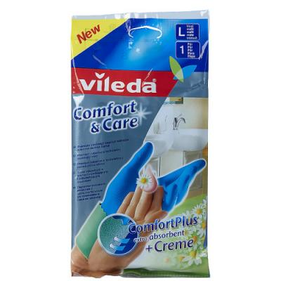 ВИЛЕДА Перчатки Комфорт с кремом для чувствительной кожи L перчатки vileda для чувствительной кожи l