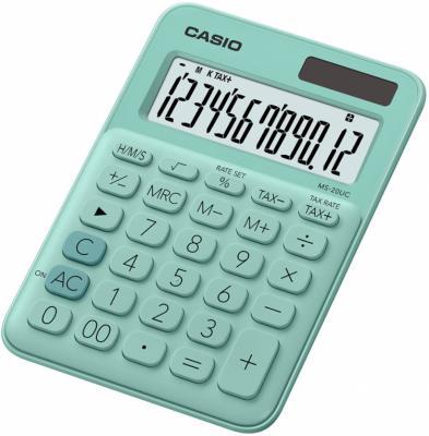 Калькулятор настольный CASIO MS-20UC-GN-S-EC 12-разрядный зеленый калькулятор casio ms 20uc yg s ec 12 разрядный желтый