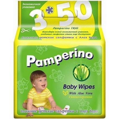 PAMPERINO TRIO Салфетки влажные детские с Алоэ вера 3*50шт терезамед салфетки влажные очищающие с алоэ вера 80