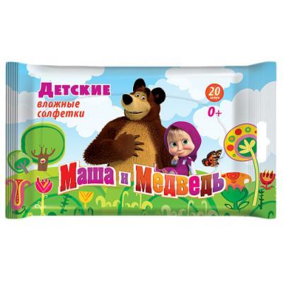 Салфетки влажные Маша и медведь 90001/30001 не содержит спирта 20 шт маша и медведь резинка для волос пружинки в цветовом дизайне 5 шт
