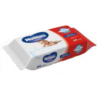 Салфетки влажные Huggies Classic влажная гипоаллергенные 64 шт 2398561 влажные салфетки детские me to you 64 шт