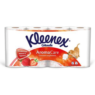 Бумага туалетная Kleenex Сочная Клубника ароматизированная растворяются в воде 3-ех слойная 8 шт 9450138