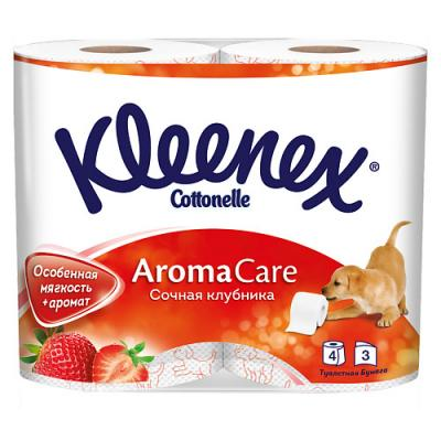 Бумага туалетная Kleenex Сочная Клубника растворяются в воде ароматизированная 3-ех слойная 4 шт 9450128 влажная туалетная бумага kleenex cleancare 42 шт влажная гипоаллергенные 9440080