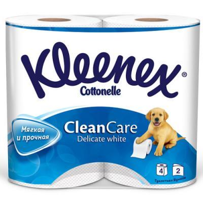 Бумага туалетная Kleenex Clean Care 2-ух слойная растворяются в воде 4 шт 9450004 влажная туалетная бумага kleenex cleancare 42 шт влажная гипоаллергенные 9440080