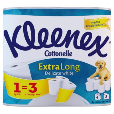 Бумага туалетная Kleenex Extra Long растворяются в воде 2-ух слойная 4 шт 9450045 туалетная бумага 500 евро