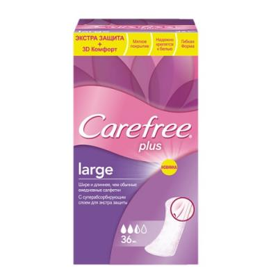 Салфетки Carefree plus Large без отдушки 36 шт 80172