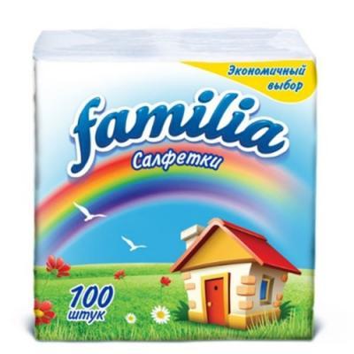 Салфетки бумажные Familia Радуга без отдушки 100 шт