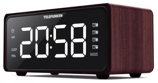 лучшая цена Радиобудильник Telefunken TF-1586 красное дерево