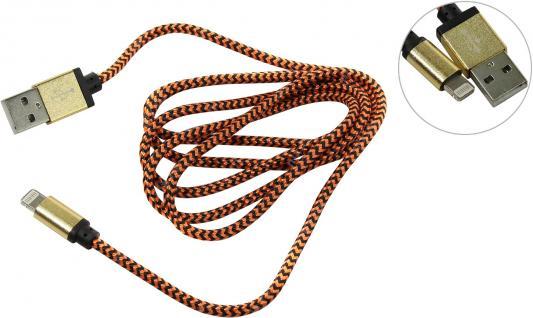 Дата-кабель Smartbuy USB - 8-pin, хлопок+металл.конн-р, длина 1,2 м, золотой (iK-512met gold)/500