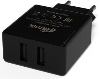 Сетевое зарядное устройство Ritmix RM-2025AC 2 х USB 2А черный
