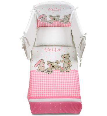 Постельный сет 5 предметов Italbaby Helo (белый-розовый-медвежата-зайчик/100,0047-1) постельный сет italbaby teddy крем 100 0019 6