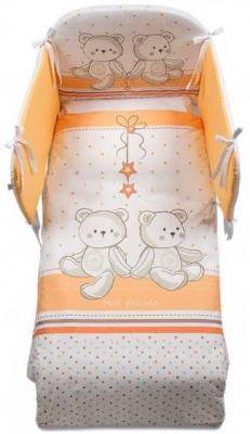 Купить Постельный сет 5 предметов Italbaby Amici (белый-оранжевый-медвежата/100, 0041-7), бело-оранжевый, Постельные сеты