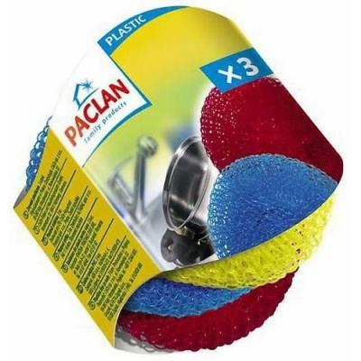 PACLAN Мочалки для посуды пластиковые 3шт пакет paclan для приготовленияльда шарики