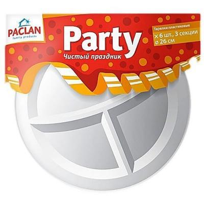 PACLAN Party Тарелка из полистирола 3-х секционная 260мм 6шт лестница новая высота 3 х секционная бытовая 3x10