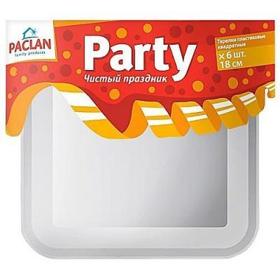 PACLAN Party Тарелка из полистирола квадратная 180мм 6шт набор стаканов paclan party прозрач 500мл 6шт