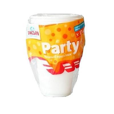 PACLAN Party Стакан пластиковый белый 200мл 12шт/уп копилка ретро паровоз 15 10 14см уп 1 12шт