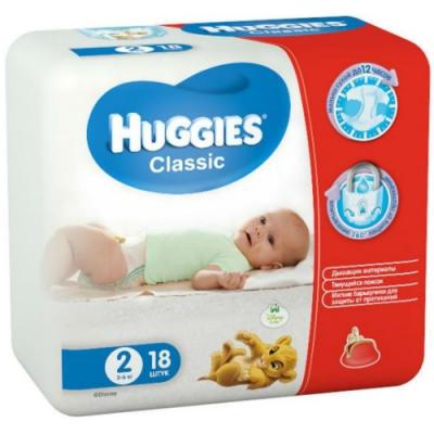 HUGGIES Подгузники CLASSIC Размер 2 3-6кг 18шт ловулар подгузники s 3 6кг 28шт