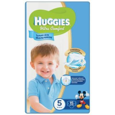 Купить HUGGIES Подгузники Ultra Comfort Размер 5 12-22кг 15шт для мальчиков, Подгузники и трусики подгузники