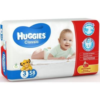 HUGGIES Подгузники CLASSIC Размер 3 4-9кг 58шт