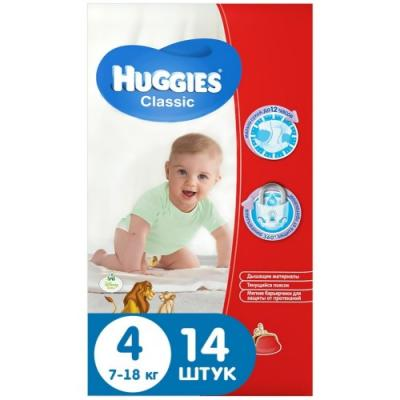 HUGGIES Подгузники CLASSIC Размер 4 7-18кг 14шт подгузники huggies classic 4 7 18 кг 68 шт