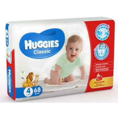 HUGGIES Подгузники CLASSIC Размер 4 7-18кг 68шт подгузники huggies classic 4 7 18 кг 68 шт