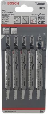 Лобзиковая пилка Bosch Т 308 В HCS 5шт 2608663751 hcs hcs hc077awine26